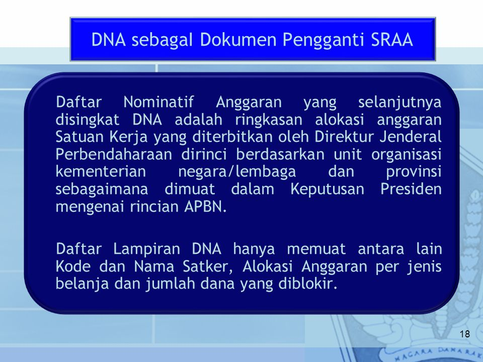 DNA sebagaI Dokumen Pengganti SRAA