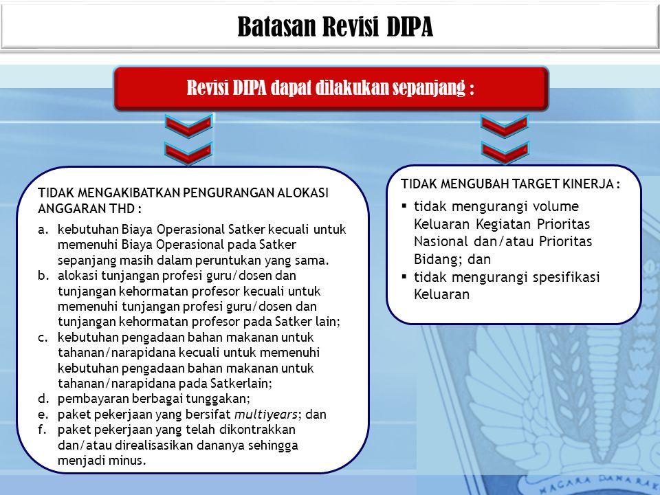 Revisi DIPA dapat dilakukan sepanjang :