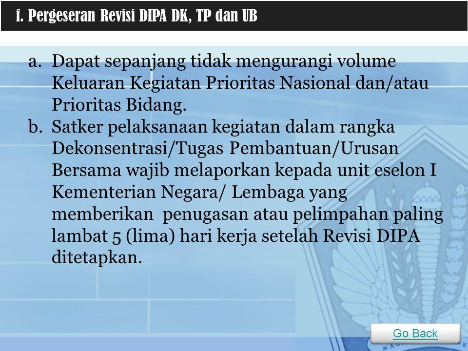 f. Pergeseran Revisi DIPA DK, TP dan UB