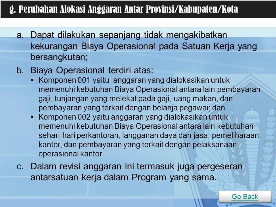 g. Perubahan Alokasi Anggaran Antar Provinsi/Kabupaten/Kota