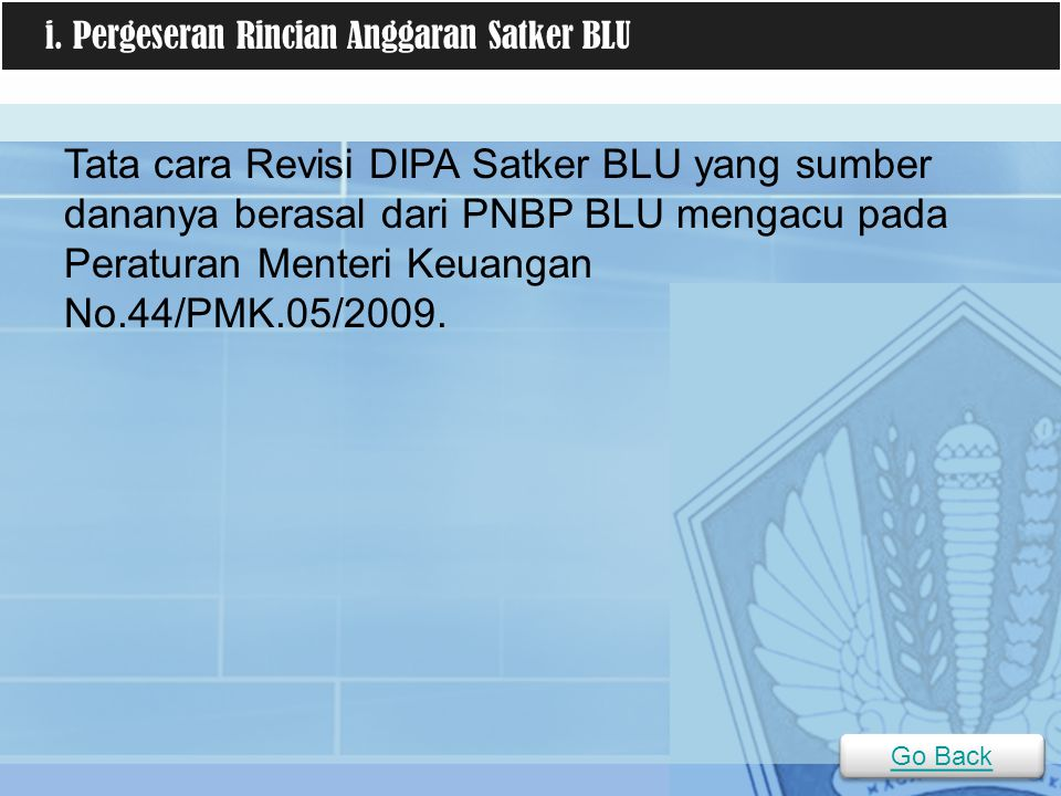 i. Pergeseran Rincian Anggaran Satker BLU