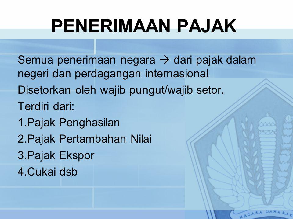 PENERIMAAN PAJAK Semua penerimaan negara  dari pajak dalam negeri dan perdagangan internasional. Disetorkan oleh wajib pungut/wajib setor.