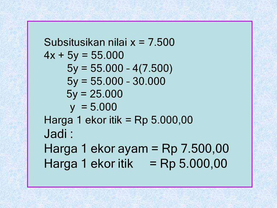 Jadi : Harga 1 ekor ayam = Rp 7.500,00 Harga 1 ekor itik = Rp 5.000,00
