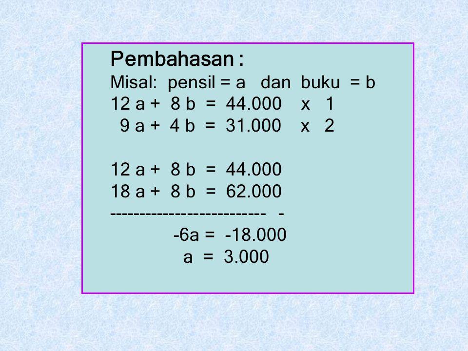Pembahasan : Misal: pensil = a dan buku = b 12 a + 8 b = 44.000 x 1