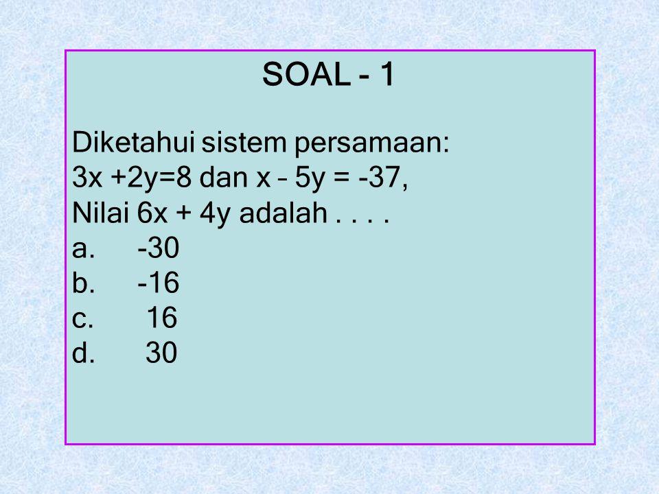 SOAL - 1 Diketahui sistem persamaan: 3x +2y=8 dan x – 5y = -37,