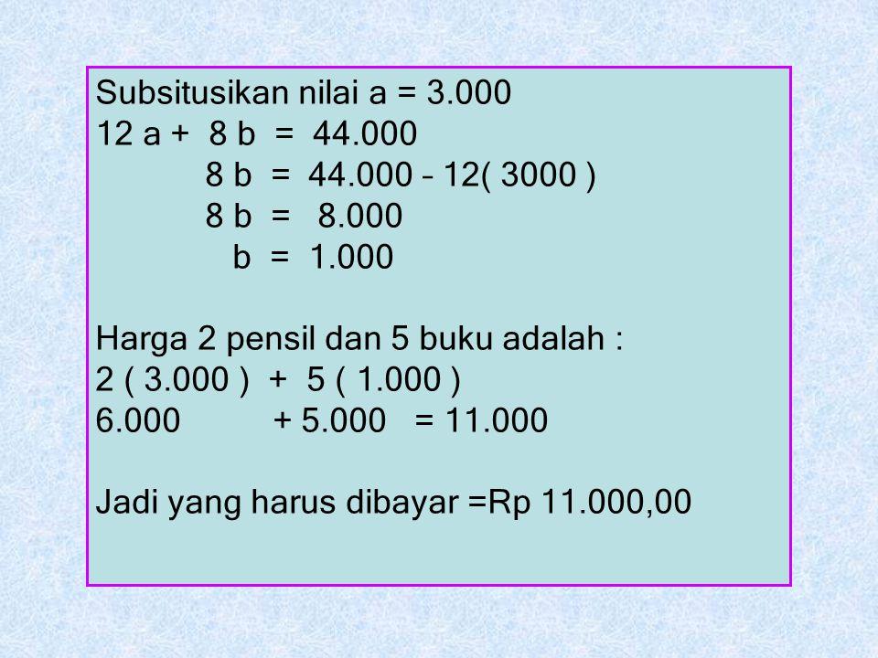 Subsitusikan nilai a = 3.000 12 a + 8 b = 44.000. 8 b = 44.000 – 12( 3000 ) 8 b = 8.000. b = 1.000.