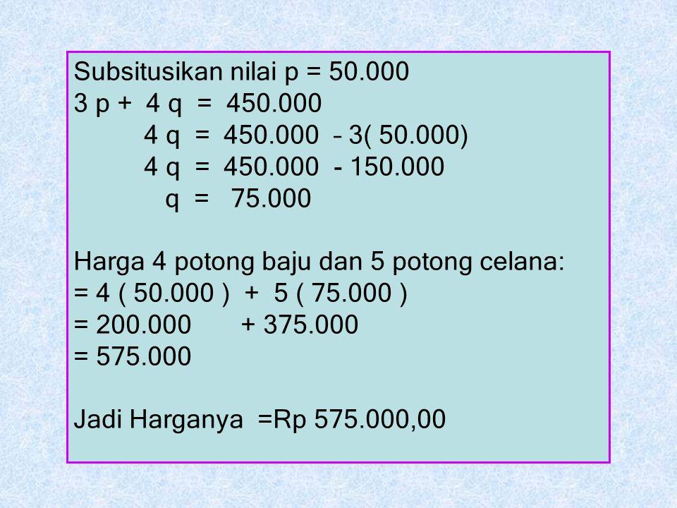Subsitusikan nilai p = 50.000 3 p + 4 q = 450.000. 4 q = 450.000 – 3( 50.000) 4 q = 450.000 - 150.000.