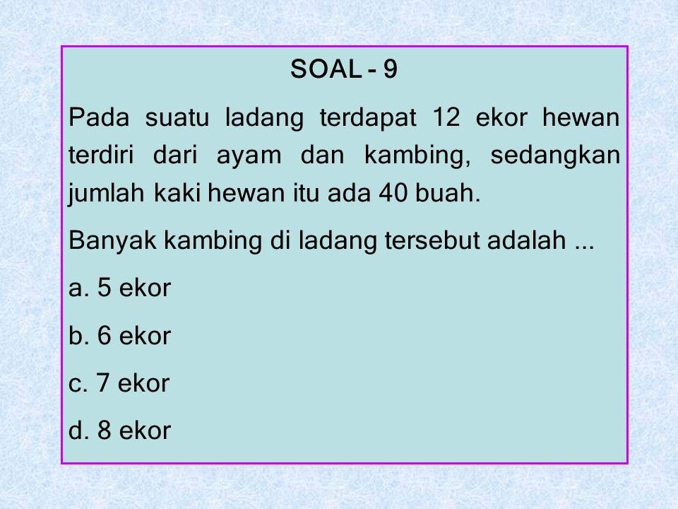 SOAL - 9 Pada suatu ladang terdapat 12 ekor hewan terdiri dari ayam dan kambing, sedangkan jumlah kaki hewan itu ada 40 buah.