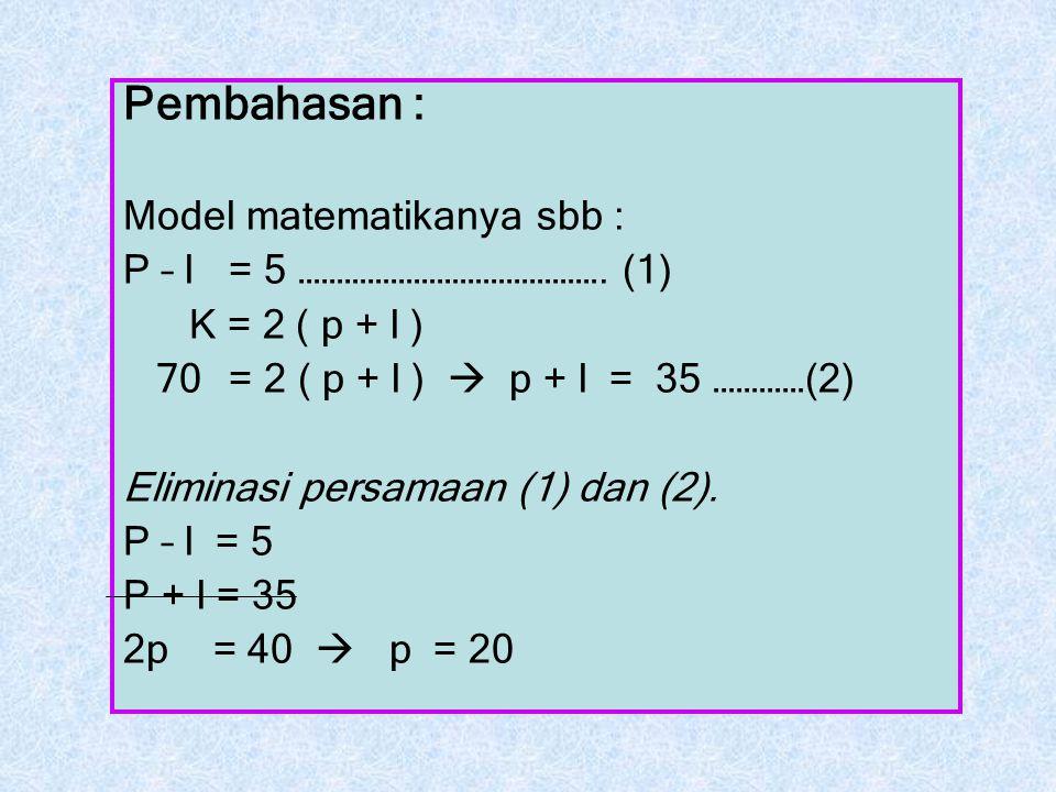 Pembahasan : Model matematikanya sbb : P – l = 5 …………………………………. (1)