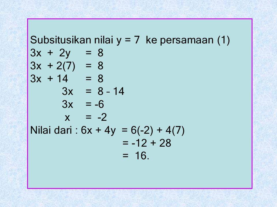 Subsitusikan nilai y = 7 ke persamaan (1)