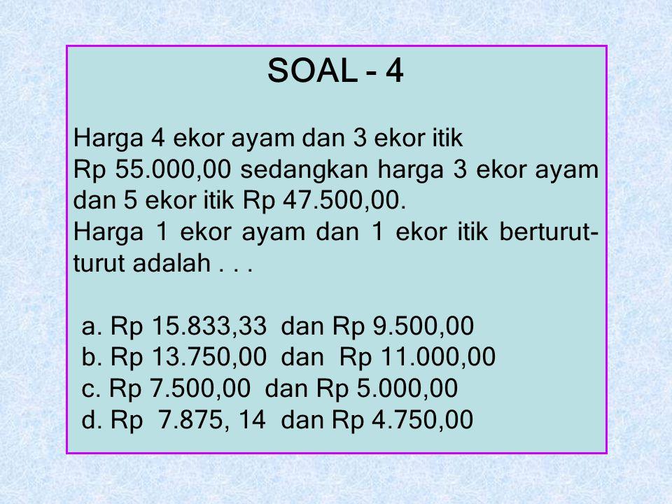 SOAL - 4 Harga 4 ekor ayam dan 3 ekor itik