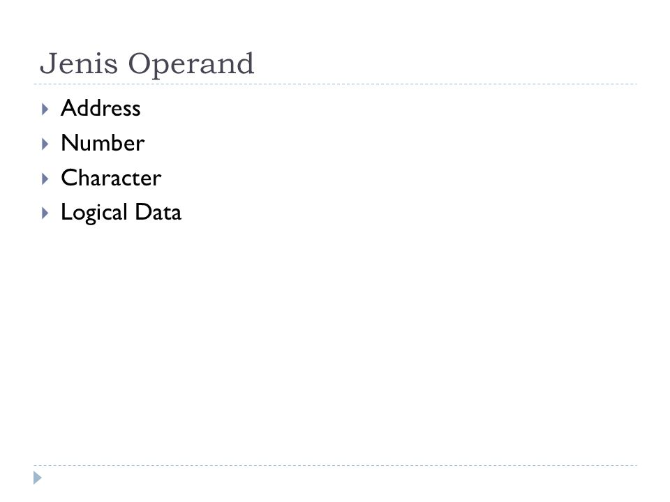 Jenis Operand Address Number Character Logical Data