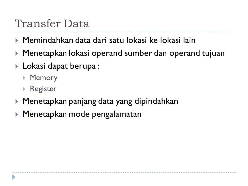 Transfer Data Memindahkan data dari satu lokasi ke lokasi lain