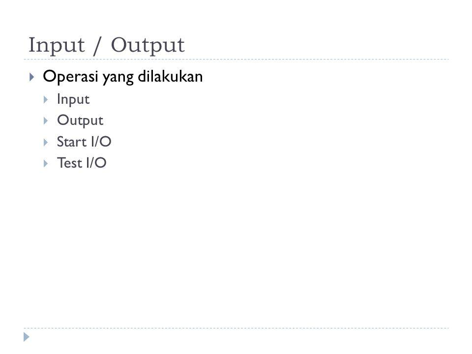 Input / Output Operasi yang dilakukan Input Output Start I/O Test I/O