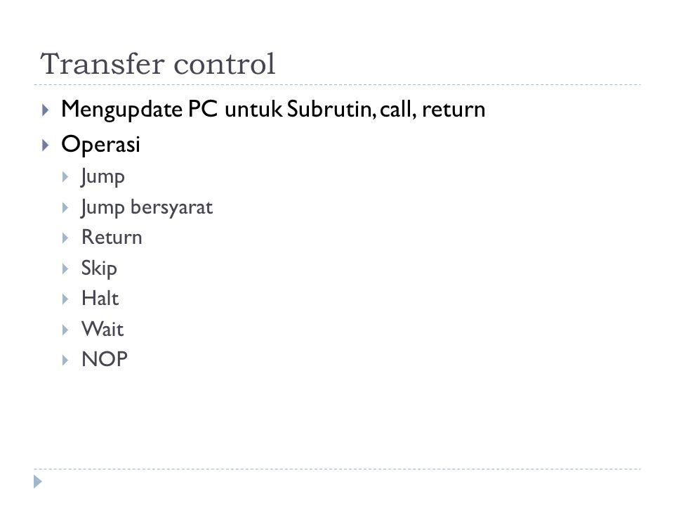 Transfer control Mengupdate PC untuk Subrutin, call, return Operasi