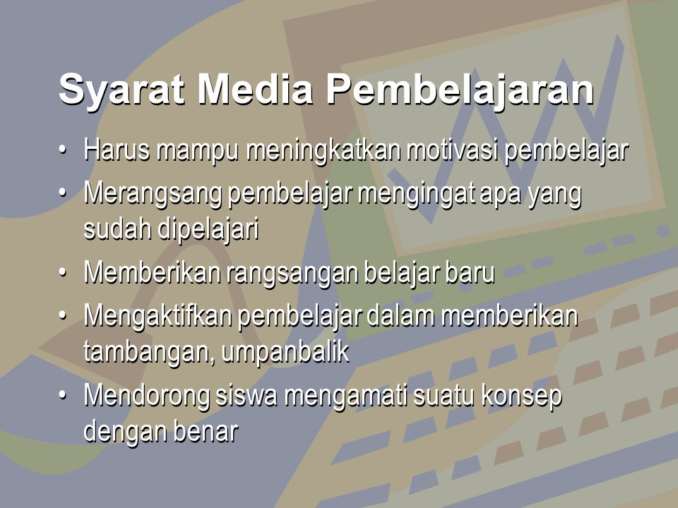 Syarat Media Pembelajaran