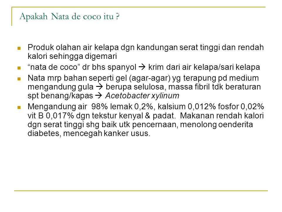 Apakah Nata de coco itu Produk olahan air kelapa dgn kandungan serat tinggi dan rendah kalori sehingga digemari.