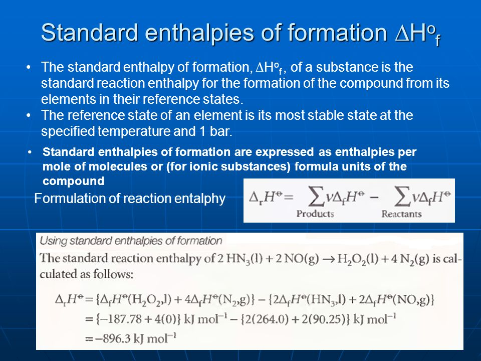 Standard enthalpies of formation ∆Hof