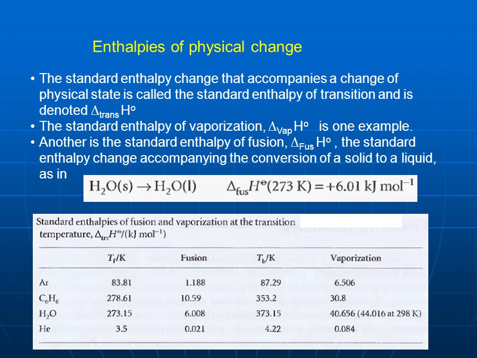 Enthalpies of physical change