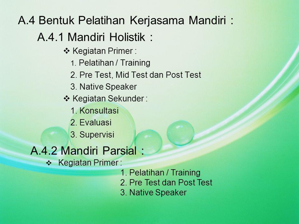 A.4 Bentuk Pelatihan Kerjasama Mandiri : A.4.1 Mandiri Holistik :