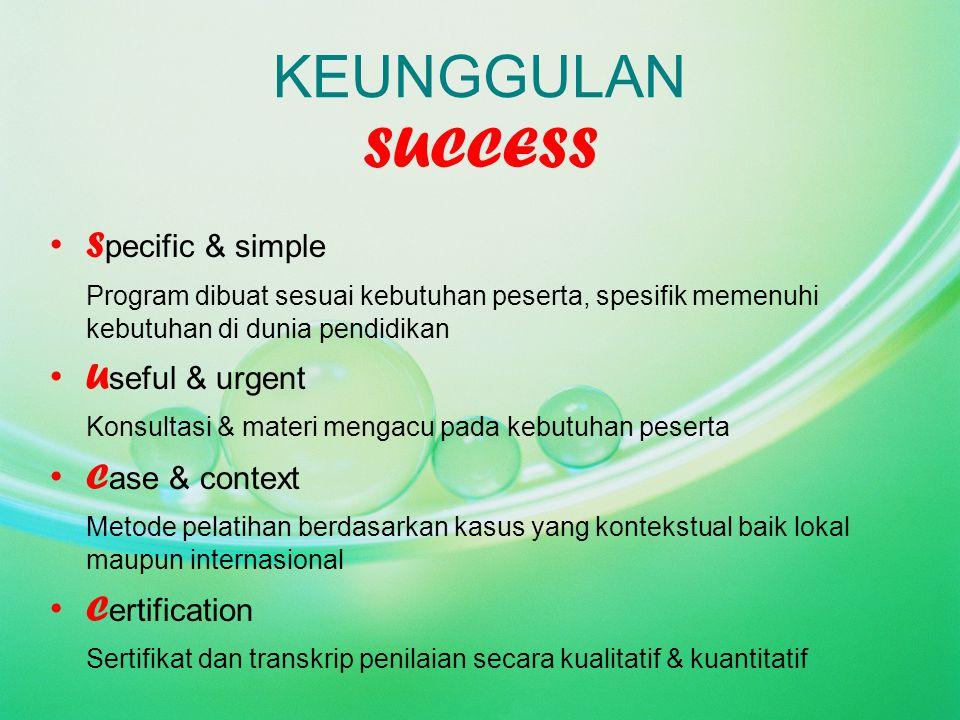 KEUNGGULAN SUCCESS Specific & simple Useful & urgent Case & context