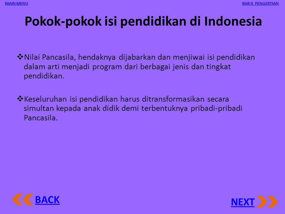 Pokok-pokok isi pendidikan di Indonesia