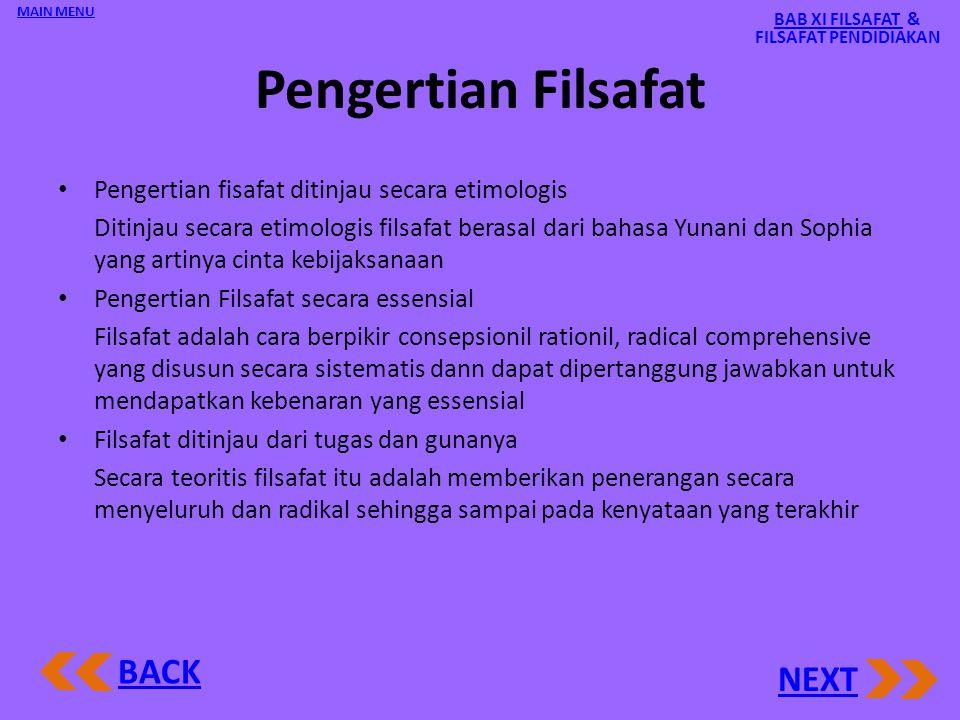 BAB XI FILSAFAT & FILSAFAT PENDIDIAKAN