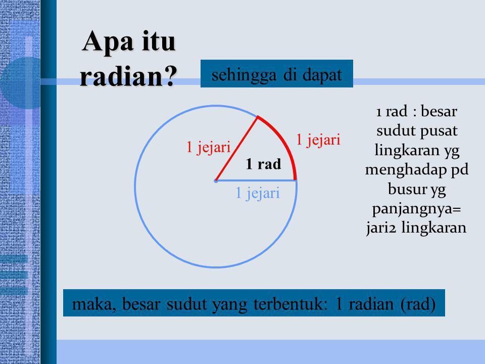 maka, besar sudut yang terbentuk: 1 radian (rad)