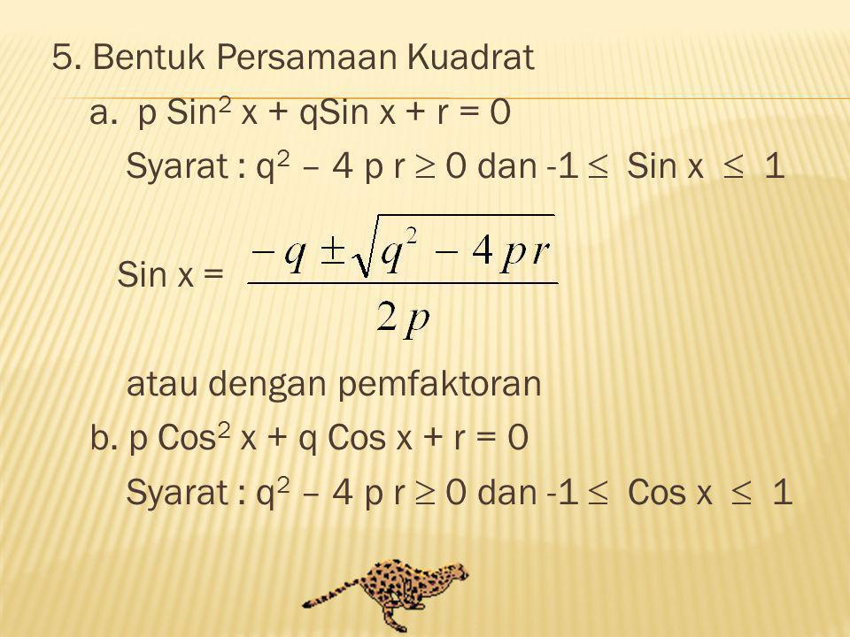 5. Bentuk Persamaan Kuadrat