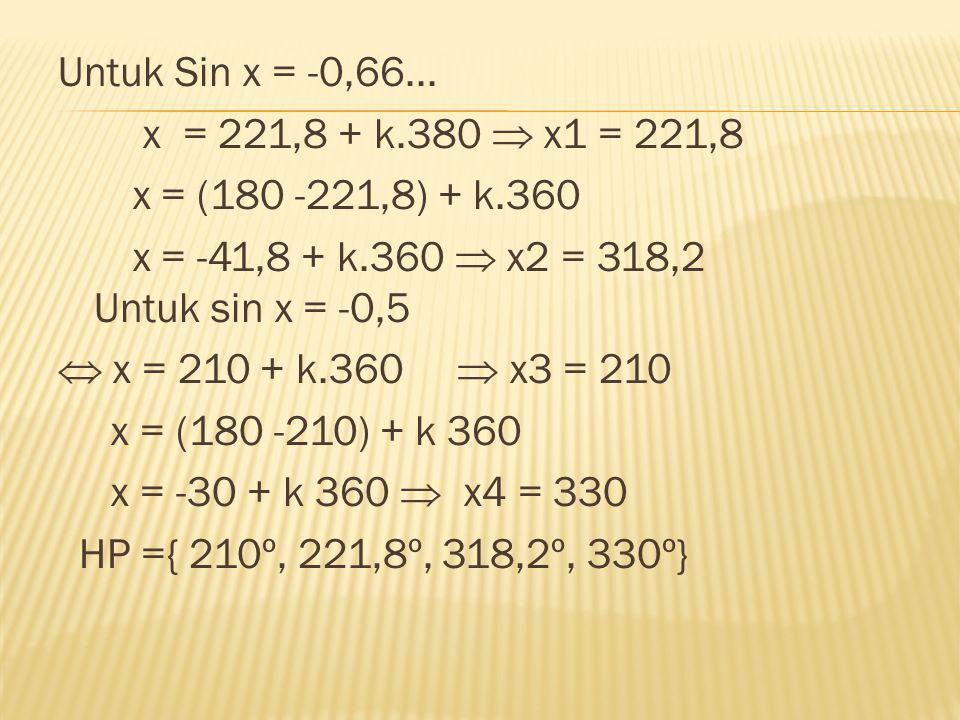 Untuk Sin x = -0,66...