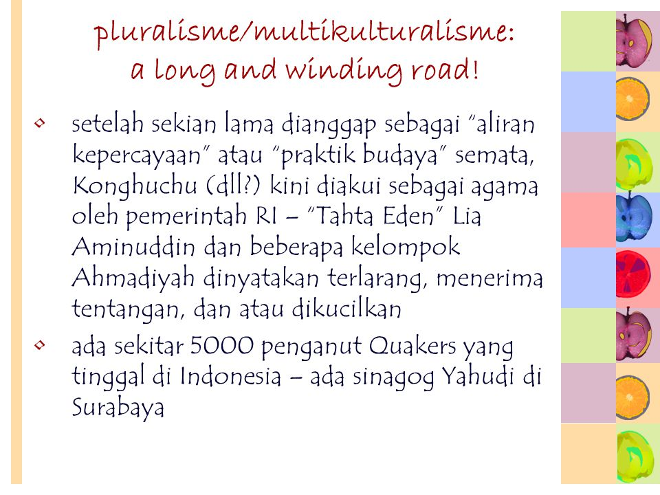 pluralisme/multikulturalisme: a long and winding road!