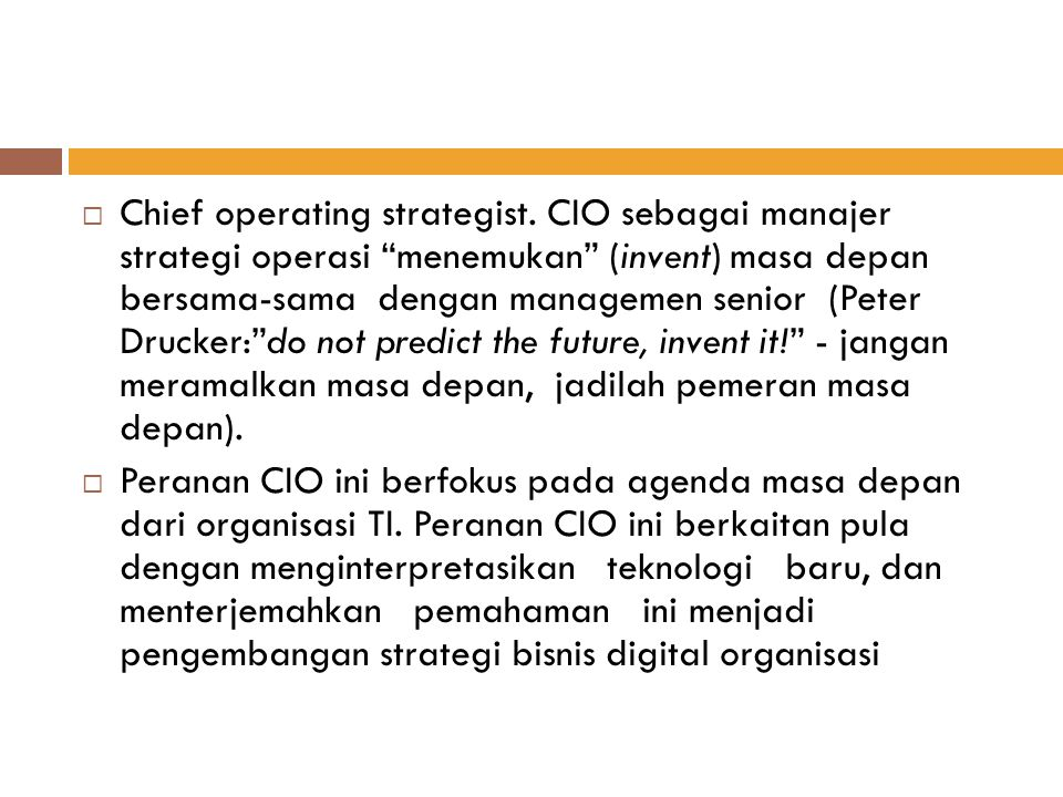 Chief operating strategist