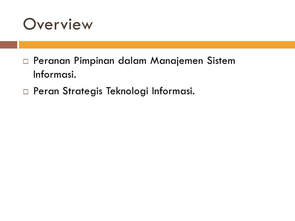Overview Peranan Pimpinan dalam Manajemen Sistem Informasi.