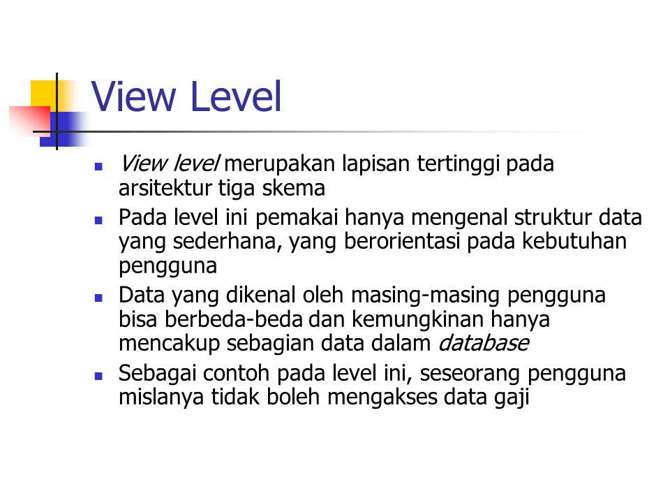 View Level View level merupakan lapisan tertinggi pada arsitektur tiga skema.