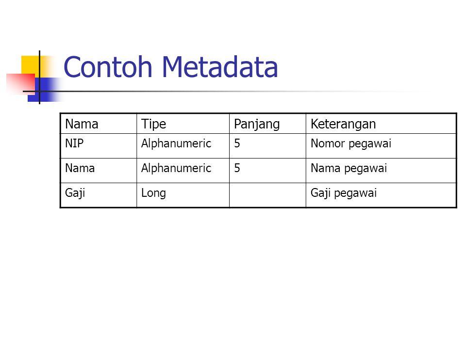 Contoh Metadata Nama Tipe Panjang Keterangan NIP Alphanumeric 5
