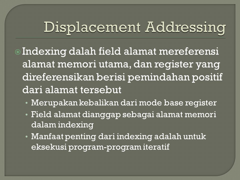 Displacement Addressing