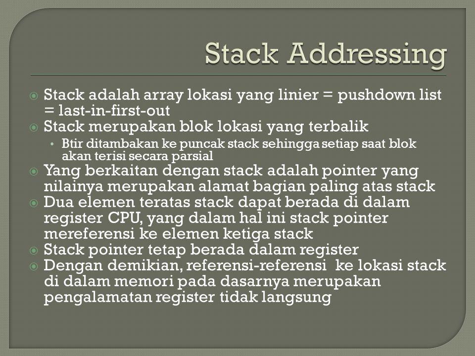 Stack Addressing Stack adalah array lokasi yang linier = pushdown list = last-in-first-out. Stack merupakan blok lokasi yang terbalik.