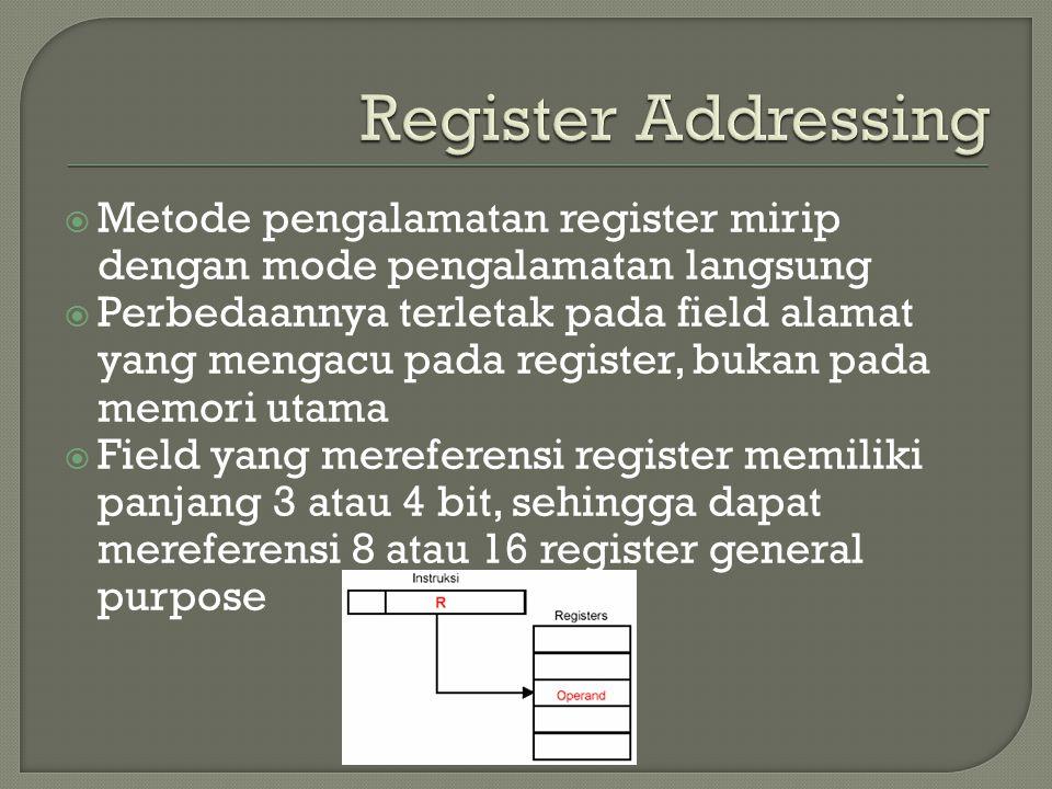 Register Addressing Metode pengalamatan register mirip dengan mode pengalamatan langsung.