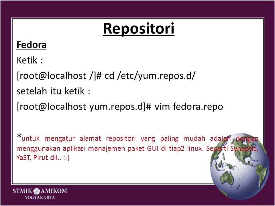 Repositori Fedora Ketik : /]# cd /etc/yum.repos.d/