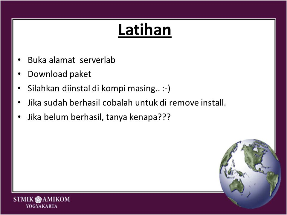 Latihan Buka alamat serverlab Download paket