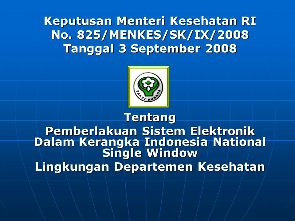 Keputusan Menteri Kesehatan RI Lingkungan Departemen Kesehatan