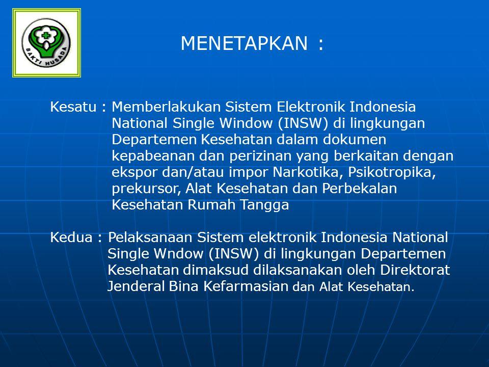 MENETAPKAN : Kesatu : Memberlakukan Sistem Elektronik Indonesia