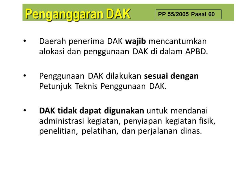 Penganggaran DAK PP 55/2005 Pasal 60. Daerah penerima DAK wajib mencantumkan alokasi dan penggunaan DAK di dalam APBD.