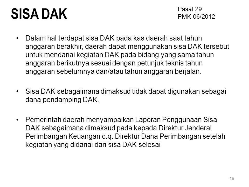 SISA DAK Pasal 29. PMK 06/2012.