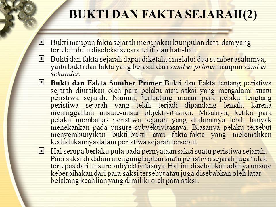BUKTI DAN FAKTA SEJARAH(2)