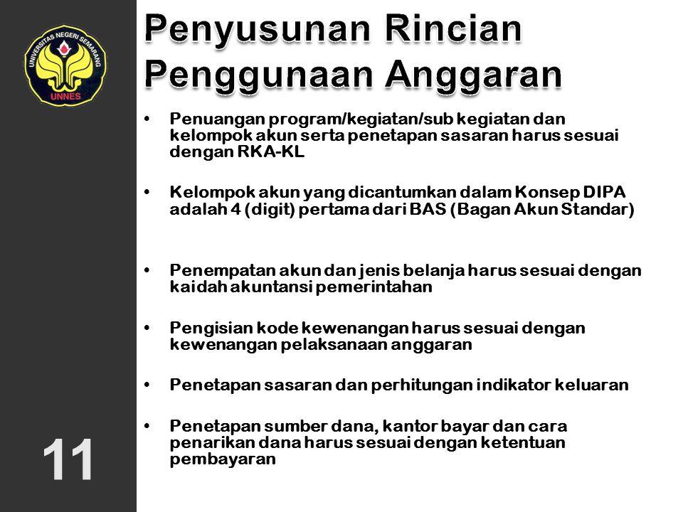 Penuangan program/kegiatan/sub kegiatan dan kelompok akun serta penetapan sasaran harus sesuai dengan RKA-KL