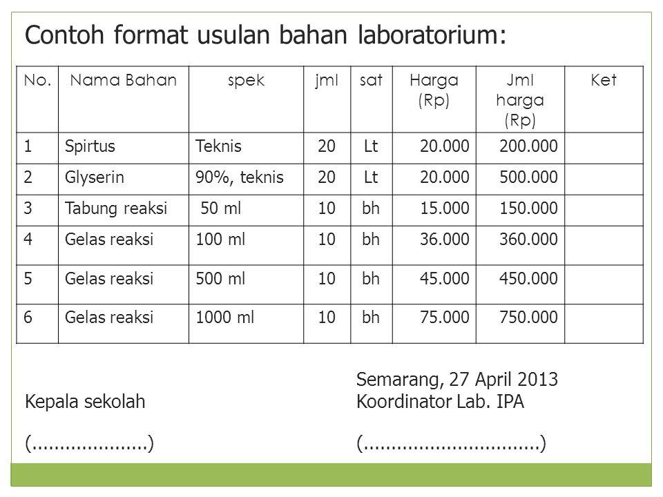 Contoh format usulan bahan laboratorium: