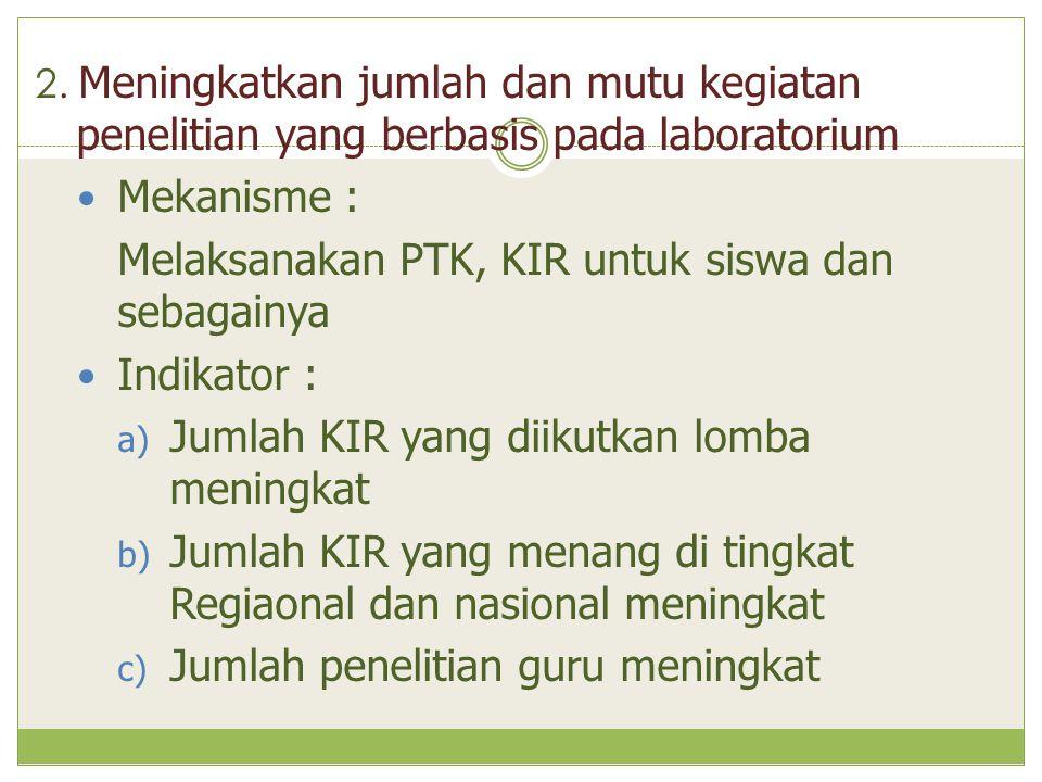 Melaksanakan PTK, KIR untuk siswa dan sebagainya Indikator :