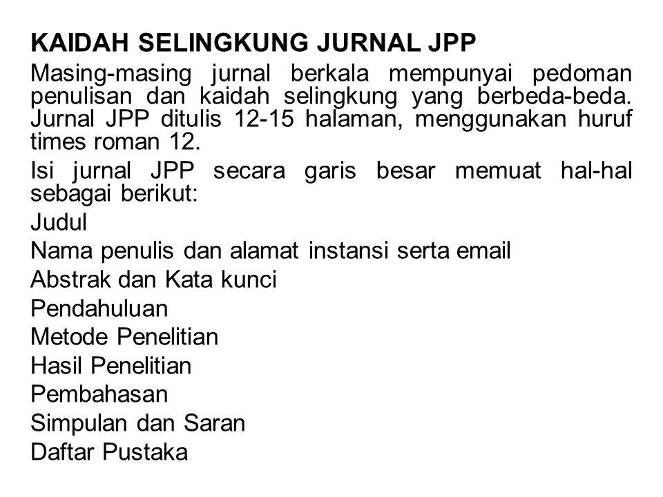 KAIDAH SELINGKUNG JURNAL JPP