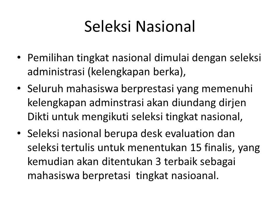 Seleksi Nasional Pemilihan tingkat nasional dimulai dengan seleksi administrasi (kelengkapan berka),